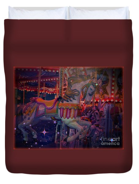 Carousel Horse Duvet Cover by Annie Gibbons