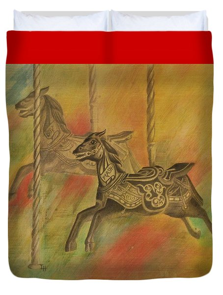 Duvet Cover featuring the drawing Carousel Horses by Lynn Hughes