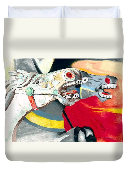 Carousel Horses Duvet Cover by Stephen Anderson