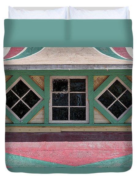 Duvet Cover featuring the photograph Carousel Pavillion Windows by Stuart Litoff