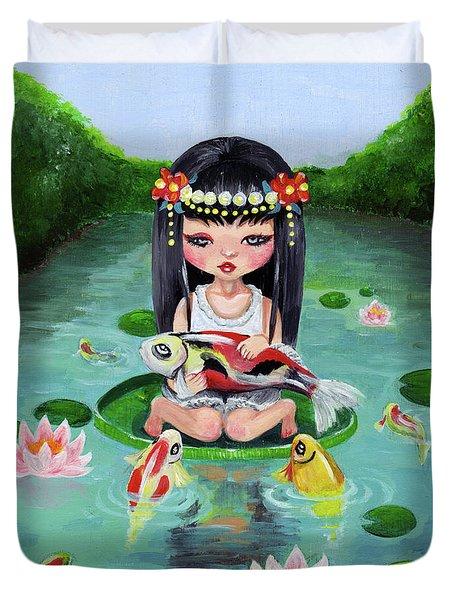Carp And Girl Duvet Cover by Akiko Okabe