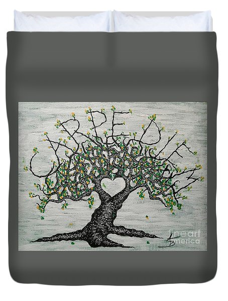 Duvet Cover featuring the drawing Carpe Diem Love Tree by Aaron Bombalicki