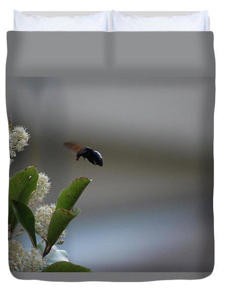 Carpenter Bee Landing Duvet Cover by Colleen Cornelius