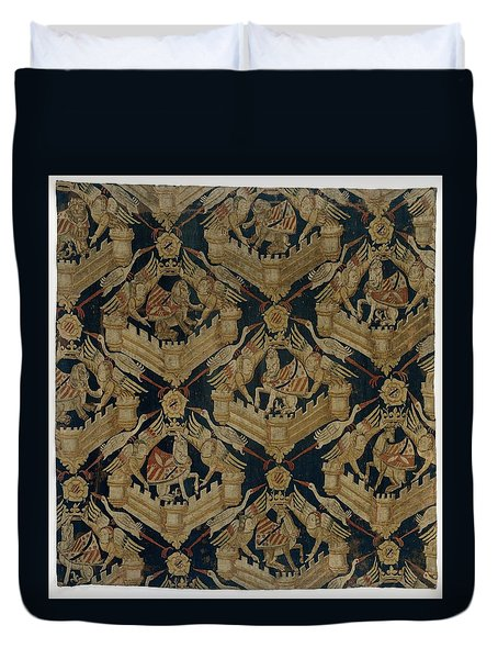 Textile Tapestry Carpet With The Arms Of Rogier De Beaufort Duvet Cover