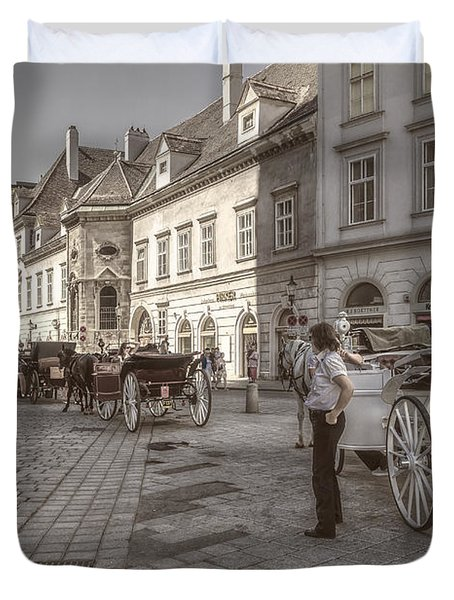 Carriages Back To Stephanplatz Duvet Cover