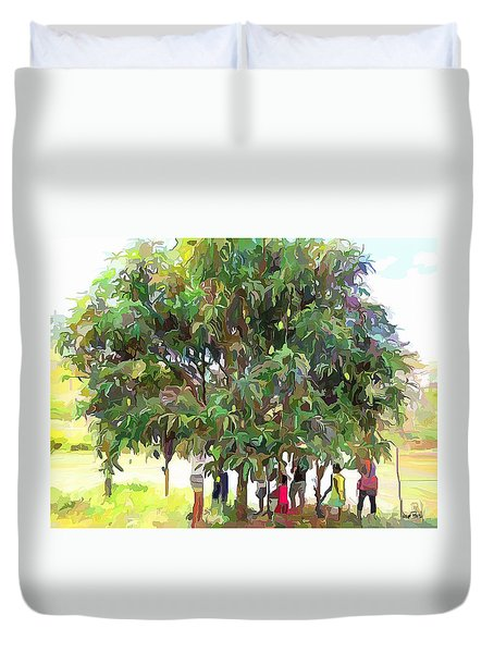 Carribean Scenes - Under De Mango Tree Duvet Cover