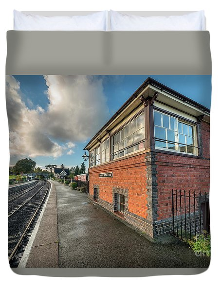 Duvet Cover featuring the photograph Carrog Signal Box by Adrian Evans