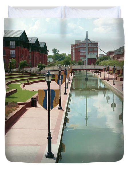 Carroll Creek Park In Frederick Maryland With Watercolor Effect Duvet Cover