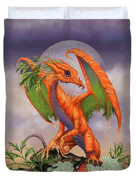Duvet Cover featuring the digital art Carrot Dragon by Stanley Morrison