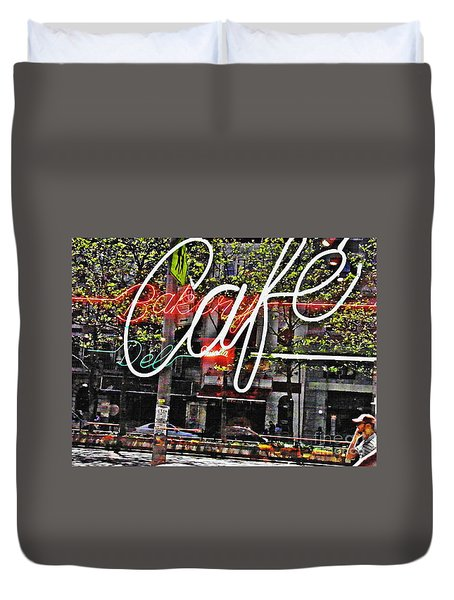 Carrot Top On Broadway Duvet Cover by Sarah Loft