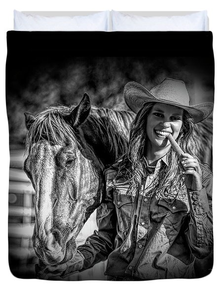 Carrots Cowgirls And Horses  Black Duvet Cover