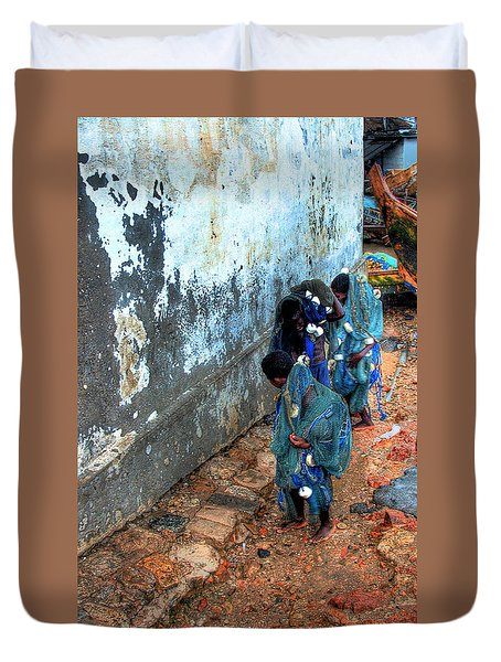 Carrying The Nets Duvet Cover