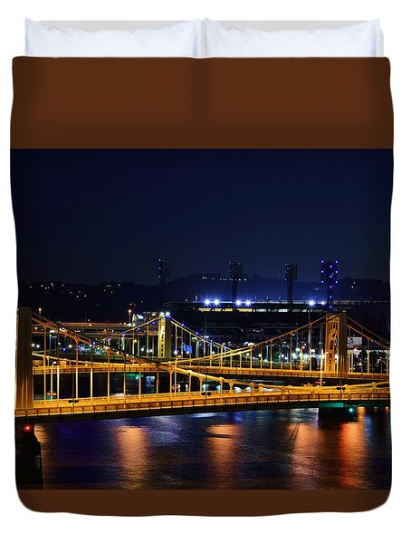 Carson Bridge At Night Duvet Cover by William Bartholomew