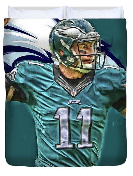 Carson Wentz Philadelphia Eagles Oil Art Duvet Cover