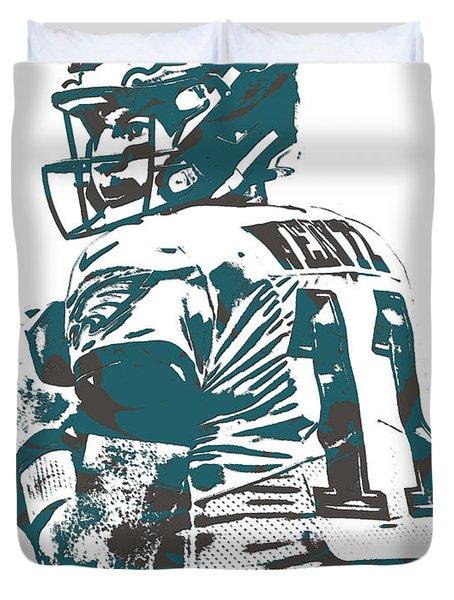 Carson Wentz Philadelphia Eagles Pixel Art 9 Duvet Cover