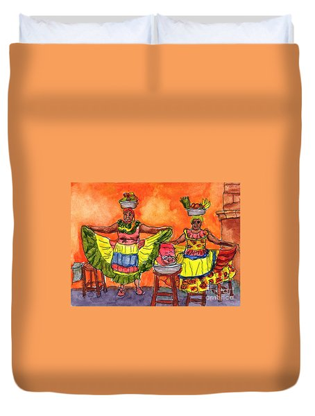 Cartagena Fruit Venders Duvet Cover