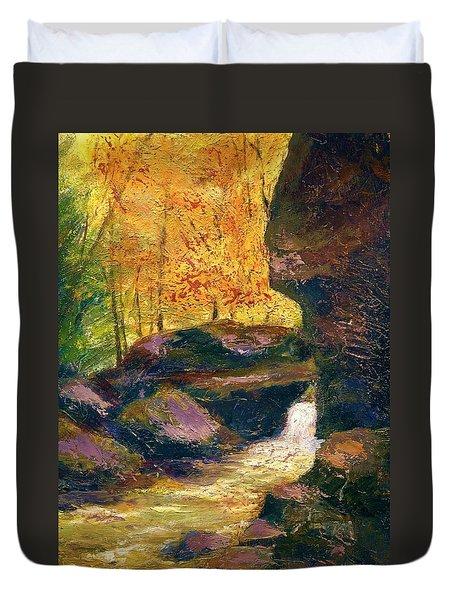 Duvet Cover featuring the painting Carter Caves Kentucky by Gail Kirtz