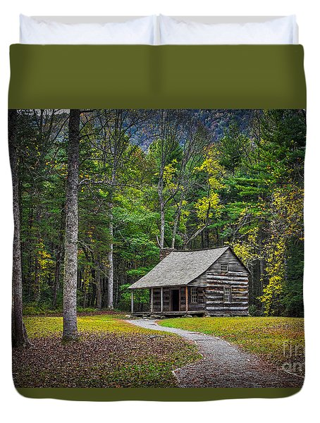 Carter Shields Cabin In Cades Cove Tn Great Smoky Mountains Landscape Duvet Cover