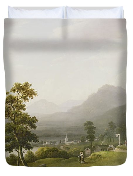 Carter's Tavern At The Head Of Lake George Duvet Cover by Francis Guy