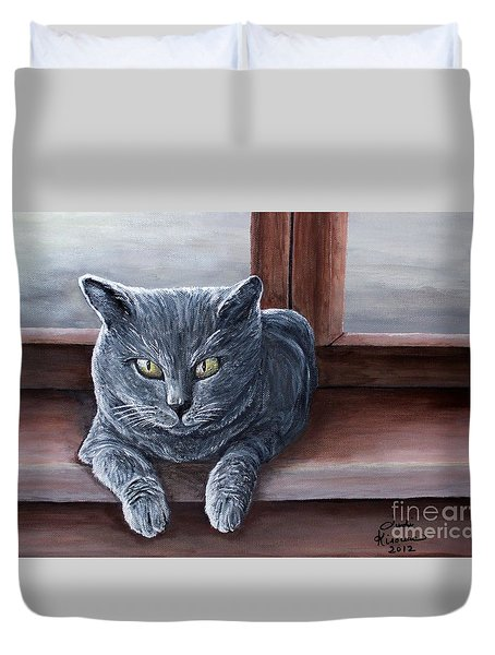 Duvet Cover featuring the painting Carthusian Cat by Judy Kirouac