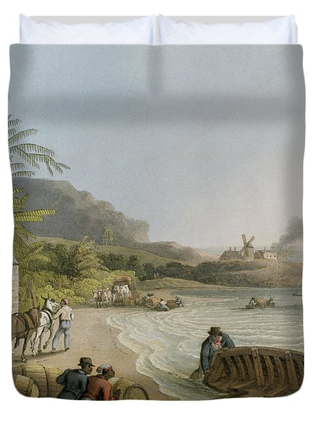 Carting And Putting Sugar Hogsheads On Board Duvet Cover by William Clark