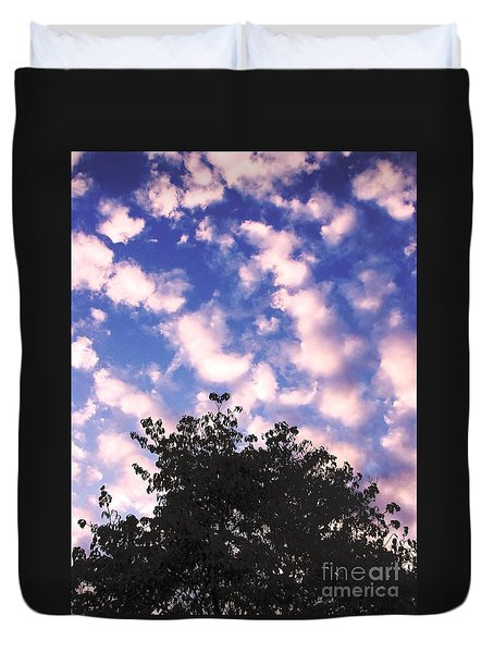 Duvet Cover featuring the photograph Cartoon Clouds by Melissa Stoudt