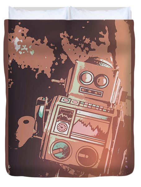Cartoon Cyborg Robot Duvet Cover