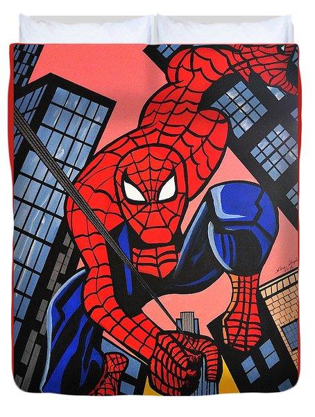 Cartoon Spiderman Duvet Cover by Nora Shepley