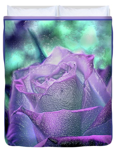 Duvet Cover featuring the photograph Carved Rose by Lance Sheridan-Peel