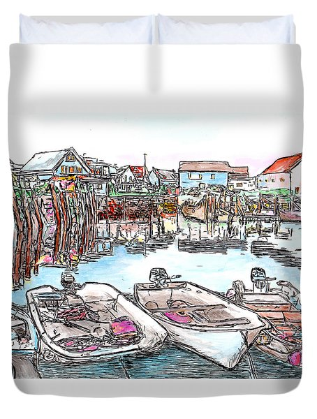 Carvers Harbour With Boats , Vinal Haven,  Maine Duvet Cover