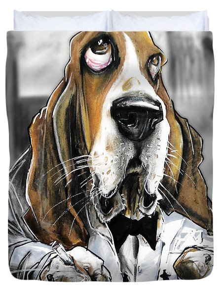 Casablanca Basset Hound Caricature Art Print Duvet Cover