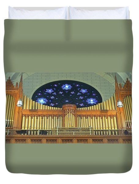 Duvet Cover featuring the photograph Casavant Organ Pipes At Basilica Of St. Peter And St.paul by Mike Breau