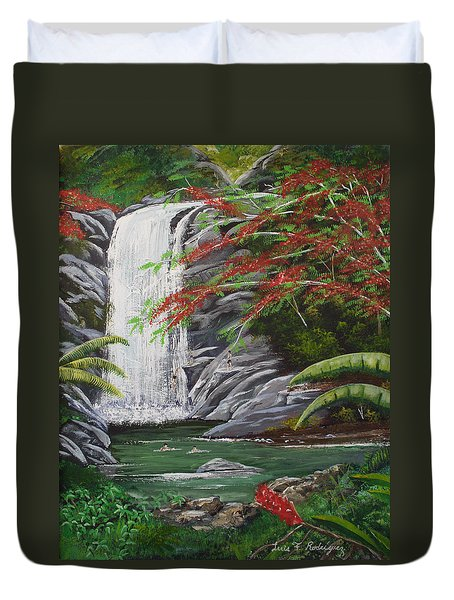Cascada Tropical Duvet Cover by Luis F Rodriguez