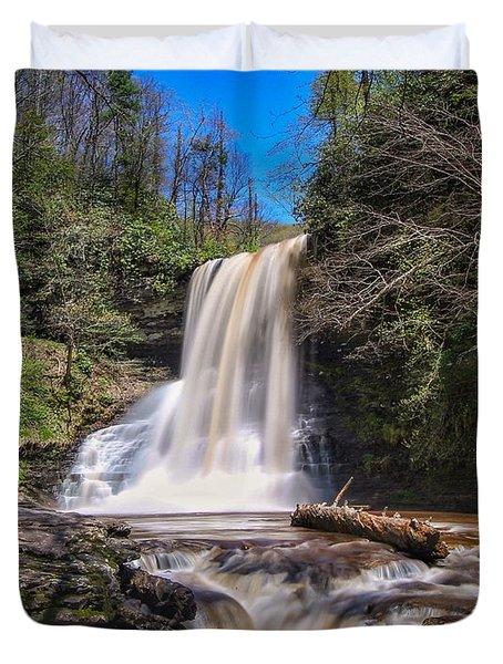 Cascade Falls In Spring Duvet Cover