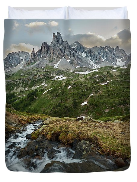 Cascade In The Alps Duvet Cover