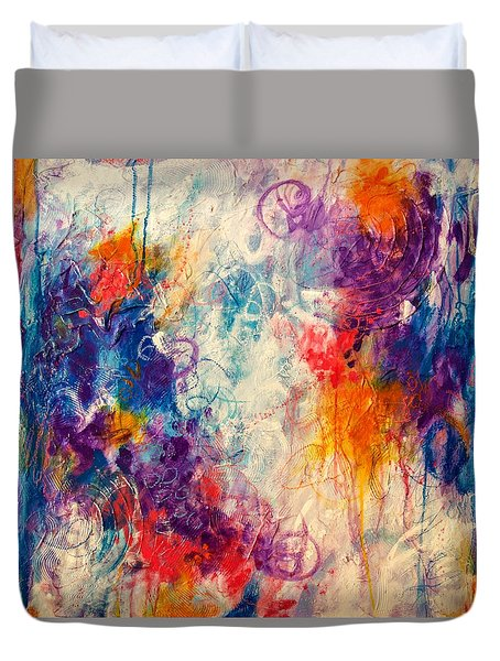 Duvet Cover featuring the painting Cascade Into The Oceans by Tracy Bonin