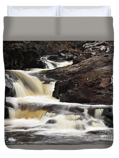 Duvet Cover featuring the photograph Cascade On The Two Island River by Larry Ricker