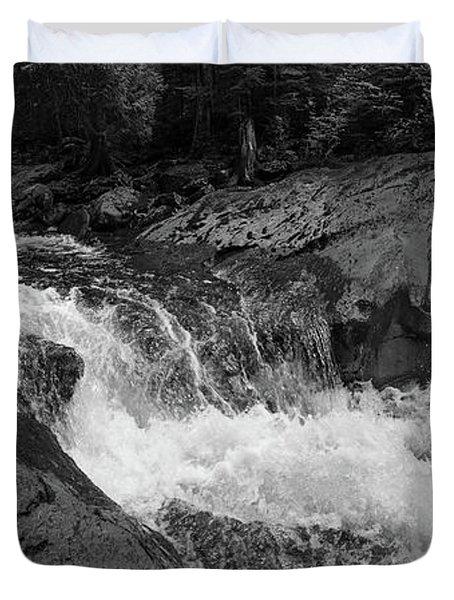 Cascade Stream Gorge, Rangeley, Maine  -70756-70771-pano-bw Duvet Cover
