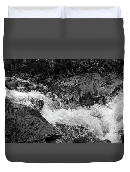 Cascade Stream Gorge, Rangeley, Maine  -70756-70771-pano-bw Duvet Cover