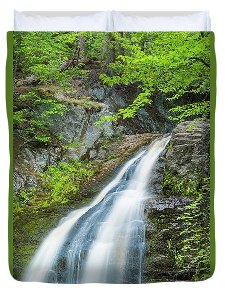 Duvet Cover featuring the photograph Cascade Waterfalls In South Maine by Ranjay Mitra