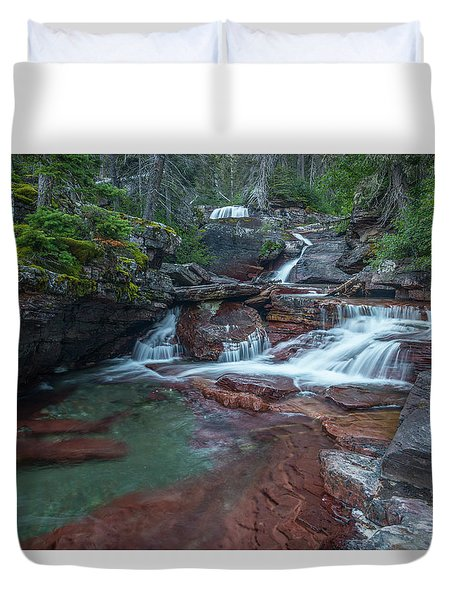 Duvet Cover featuring the photograph Cascades by Gary Lengyel