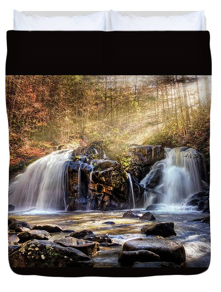 Duvet Cover featuring the photograph Cascades Of Light by Debra and Dave Vanderlaan