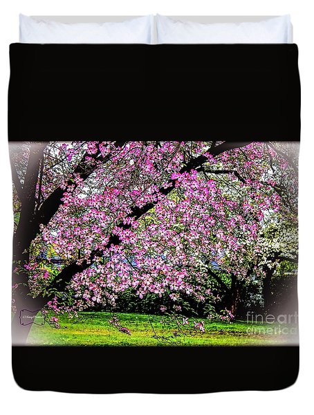 Cascading Dogwood Copyright Mary Lee Parker 17, Duvet Cover