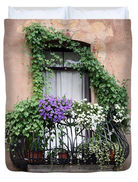 Duvet Cover featuring the photograph Cascading Floral Balcony by Donna Corless