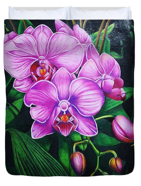 Cascading Orchids Duvet Cover by Bruce Bley