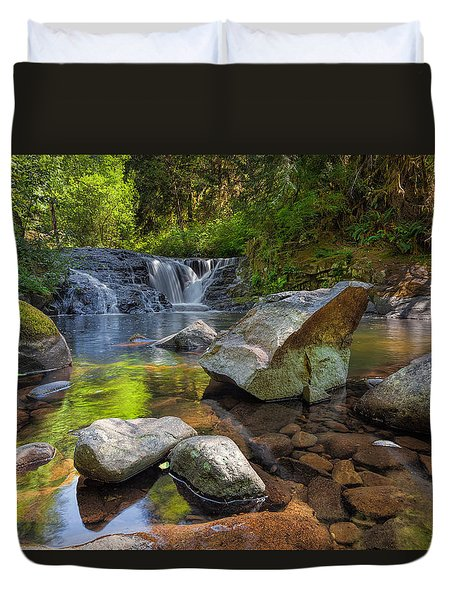 Cascading Waterfall At Sweet Creek Falls Trail Duvet Cover by David Gn
