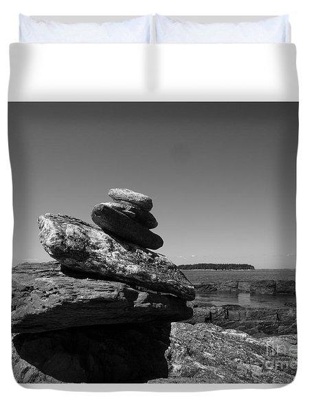 Casco Bay Cairn Bw Duvet Cover