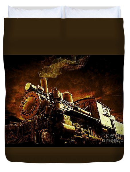 Casey Jones And The Cannonball Express Duvet Cover by Edward Fielding