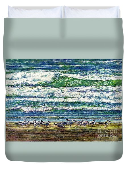Caspian Terns By The Ocean Duvet Cover