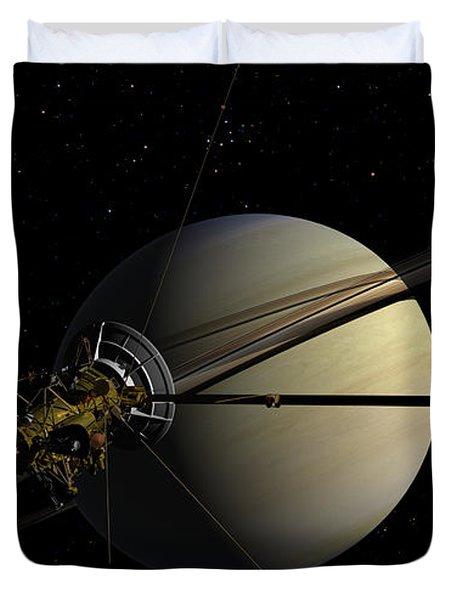 Cassini Orbiting Saturn Duvet Cover